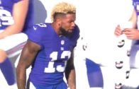 Odell Beckham Jr. gets hit in the head with a kicking net