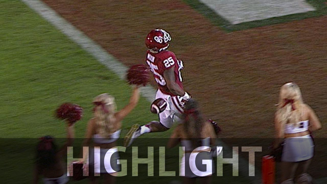 Oklahoma's Joe Mixon drops ball before scoring his 97 yard TD return