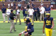 Tom Brady plays catch with Jim Harbaugh before Michigan game
