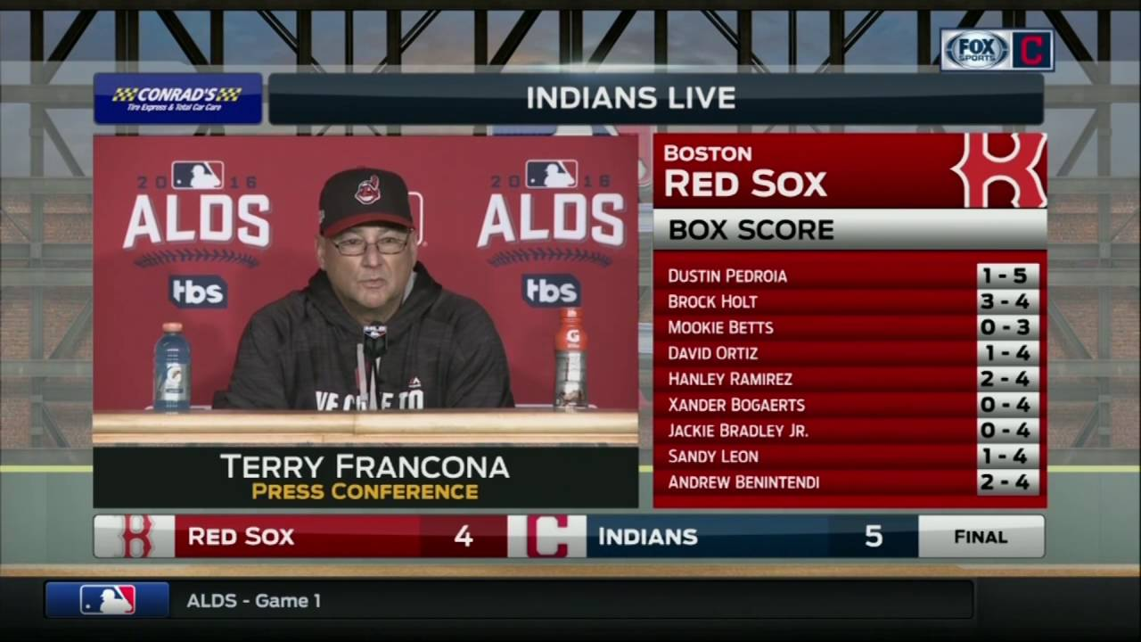 Cleveland Indians manager Terry Francona speaks on Indians Game 1 win