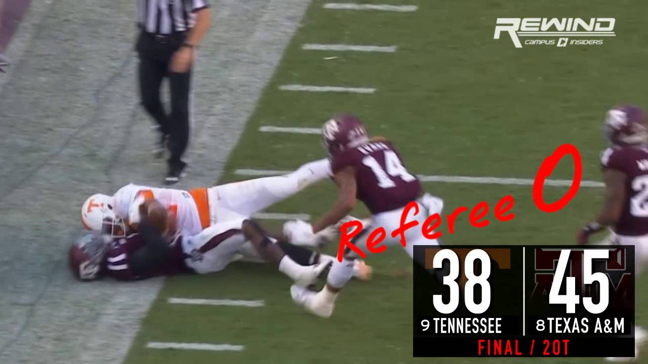 Official gets drilled during Tennessee vs. Texas A&M