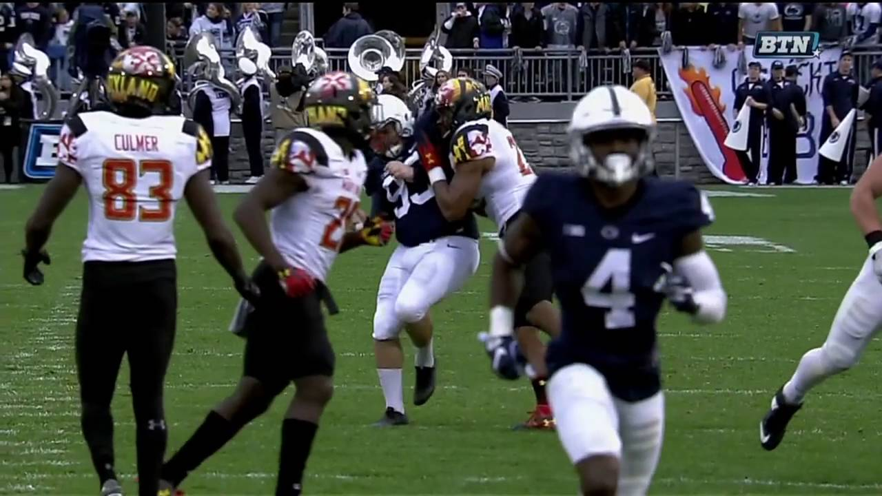 Penn State's kicker Joey Julius gets drilled again vs. Maryland