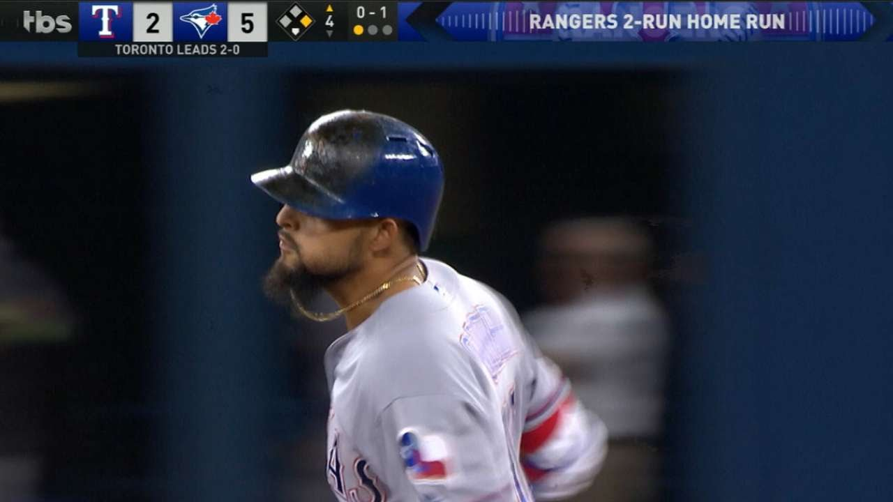 Rougned Odor crushes two run homer to get the Rangers back in Game 3