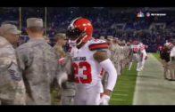 Browns cornerback Joe Haden makes sure to shake every service members hand