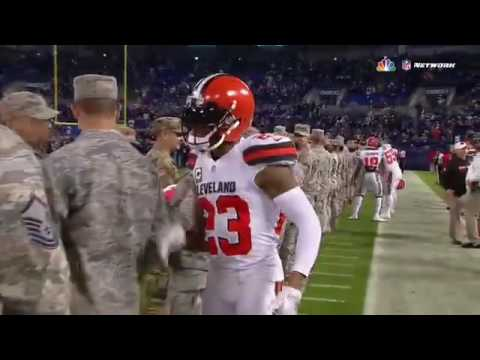 Browns cornerback Joe Haden makes sure to shake every service members hand