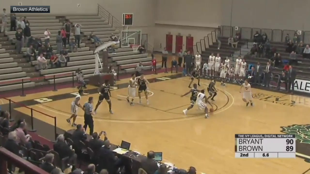 Bryant player loses track of the score & throws ball in the air while losing