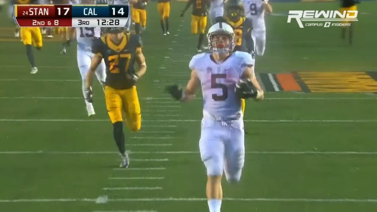 Christian McCaffrey gashes the Cal Bears for a 90 Yard Touchdown run
