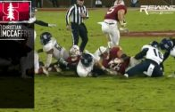 Christian McCaffrey leaps over his own teams offensive line