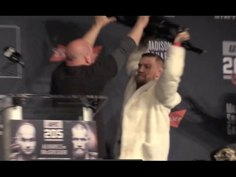 Conor McGregor almost throws chair at Eddie Alvarez in UFC 205 press conference