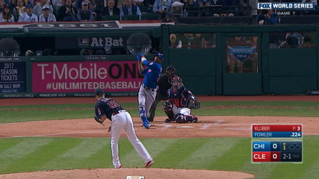 Dexter Fowler belts the first World Series Game 7 lead off homer ever