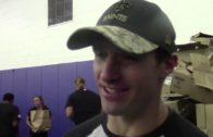 Drew Brees takes part in the New Orleans Saints turkey giveaway