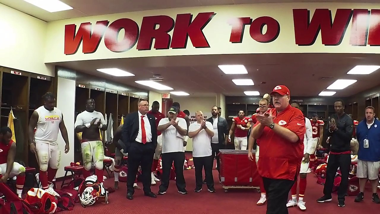 Kansas City Chiefs celebrate in the locker room after defeating the Jaguars