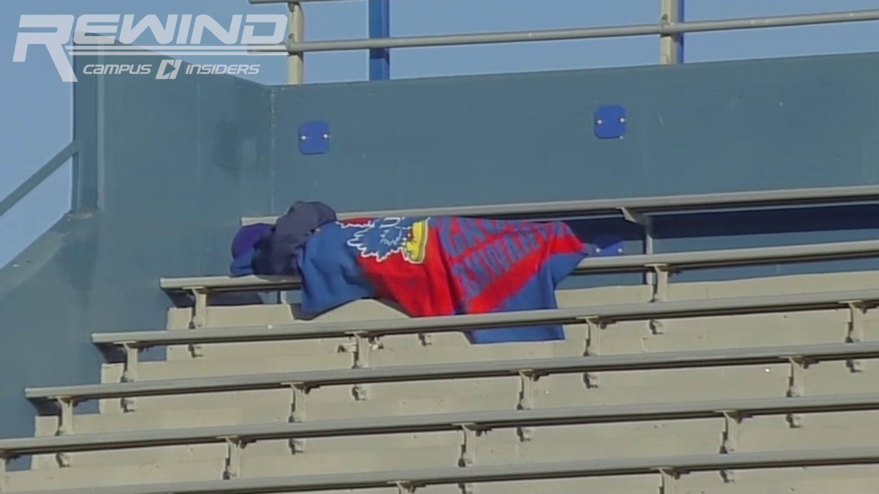 Kansas Jayhawks fan gets caught sleeping in the stands