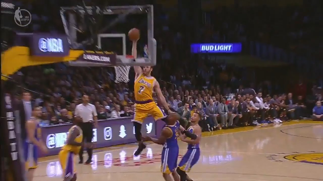 Larry Nance puts David West on a poster in Los Angeles