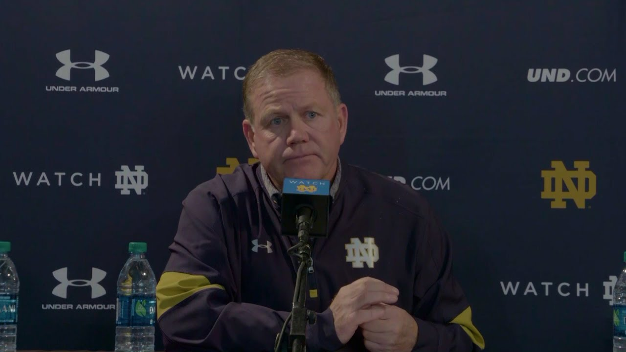 Notre Dame head coach Brian Kelly addresses rumors of him stepping down