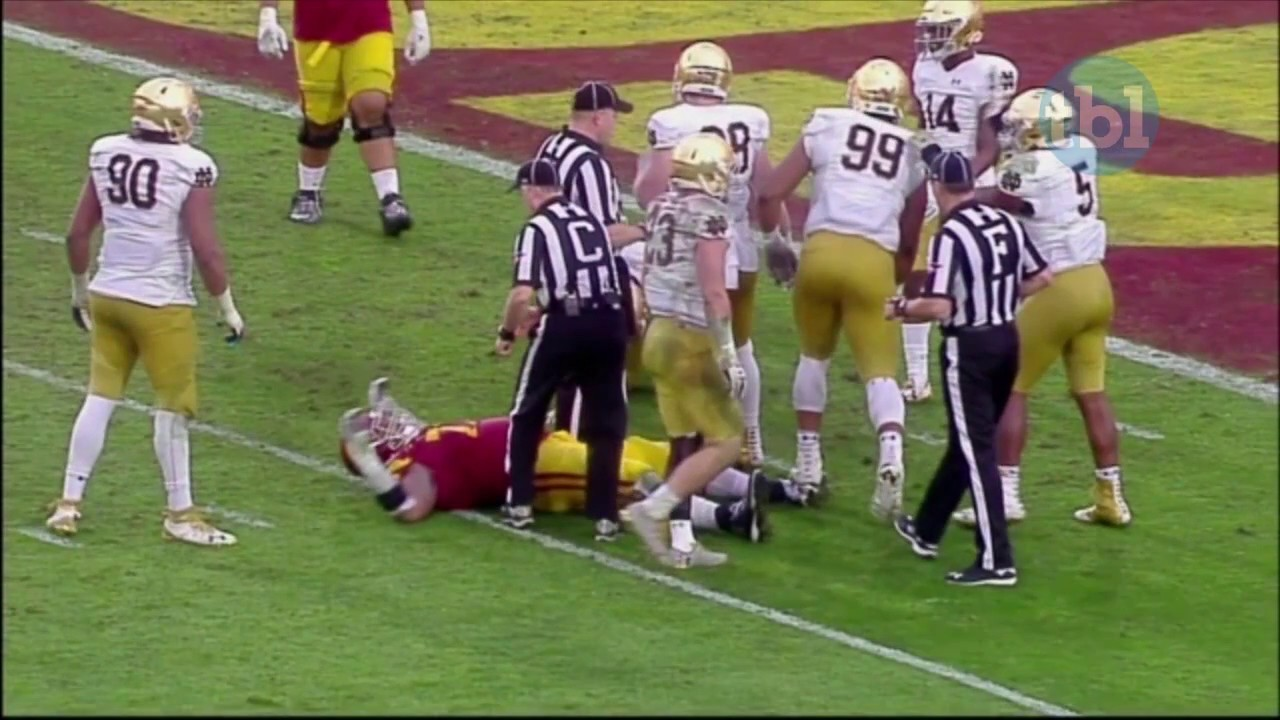 Notre Dame's Jerry Tillery stepped on USC players twice