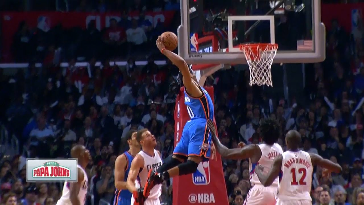 Russell Westbrook throws down a vicious dunk on the Clippers