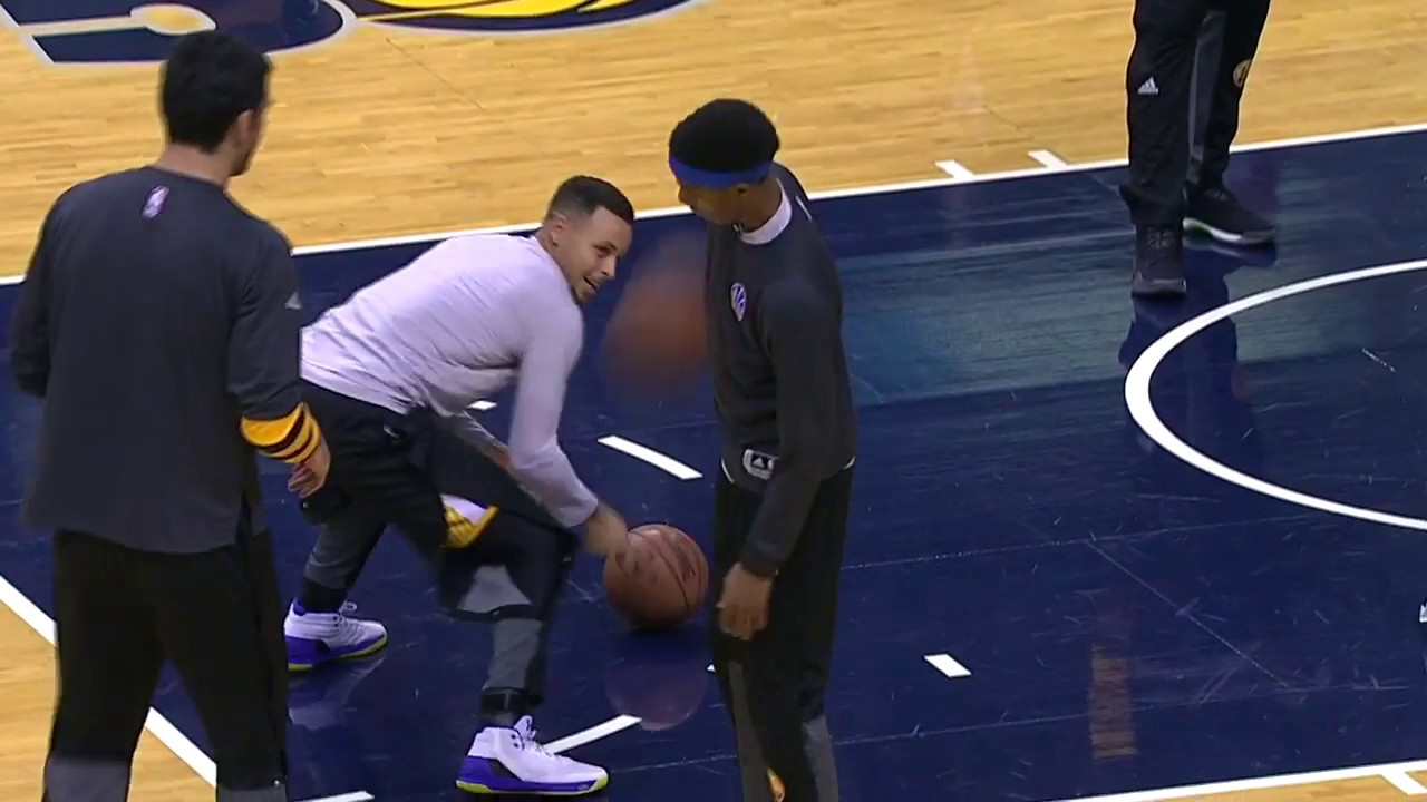 Steph Curry practices his curling, football & volleyball impersonation