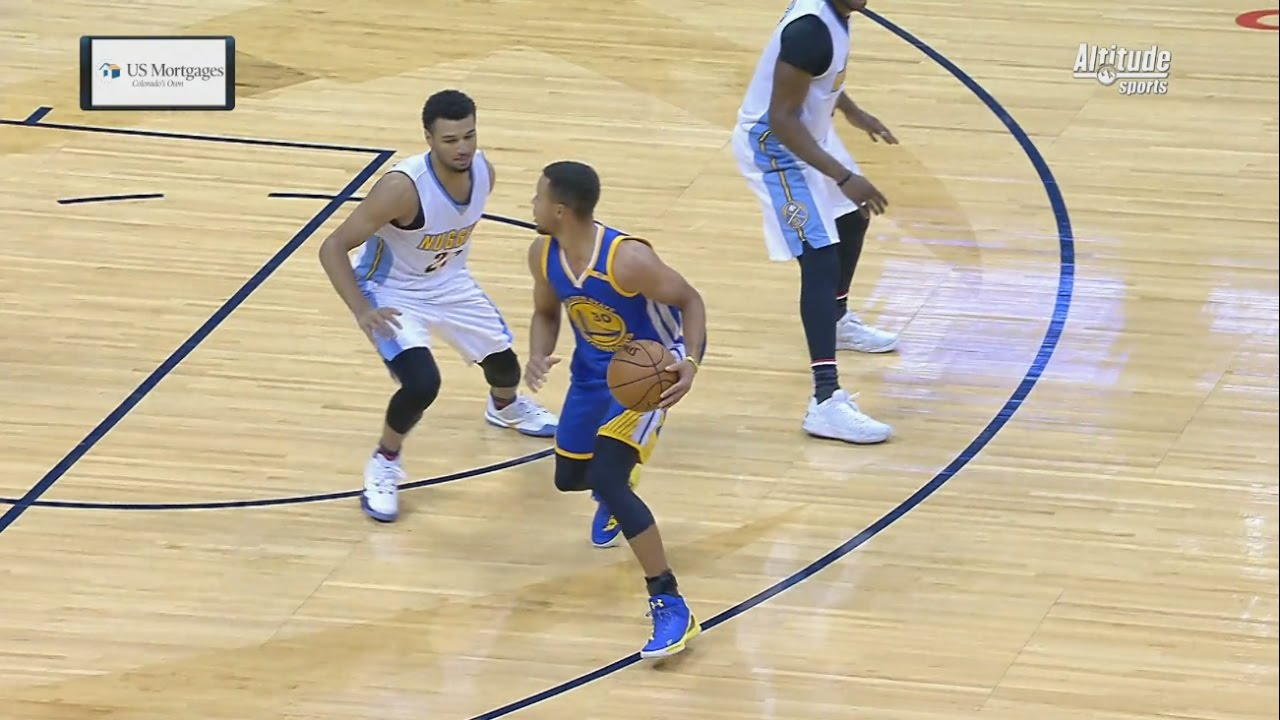 Stephen Curry hits a ridiculous three pointer on the Nuggets