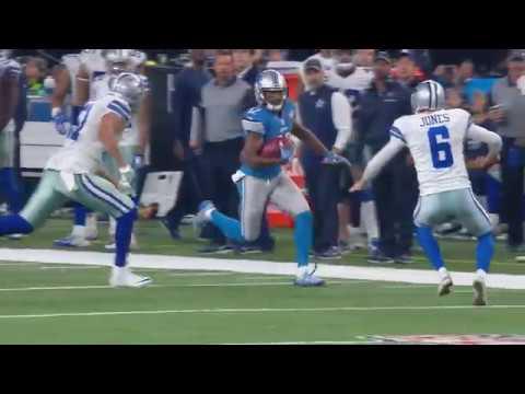 Cowboys punter Chris Jones lays out & tackles return man