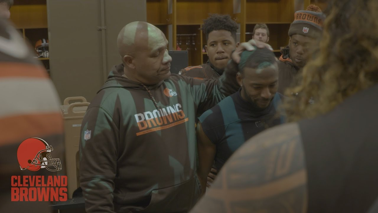 Hue Jackson's emotional victory speech after Browns first win on the season