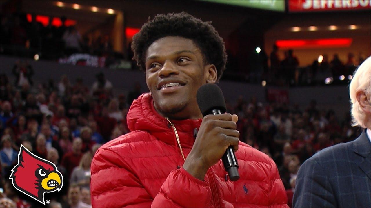 Lamar Jackson honored at Kentucky vs. Louisville Basketball game