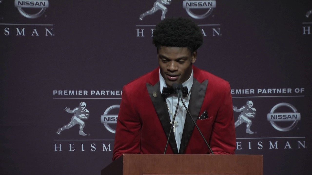 Lamar Jackson's press conference after winning the 2016 Heisman Trophy