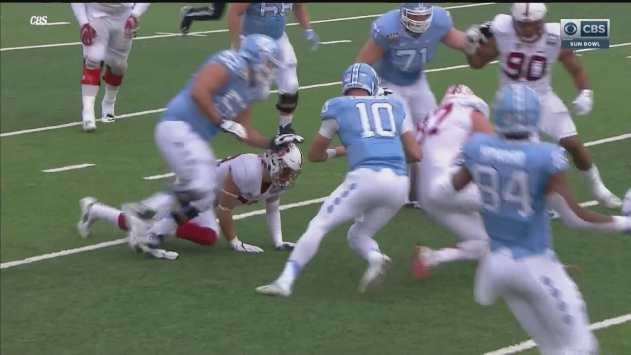 Referee causes North Carolina's Mitch Trubisky to fumble in Sun Bowl