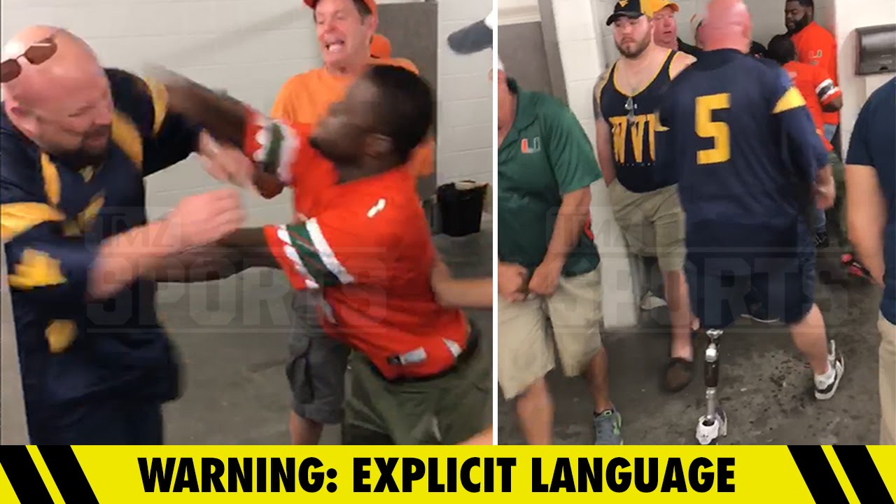 West Virginia fan & Miami fan brawl in the bathroom with the harshest of words