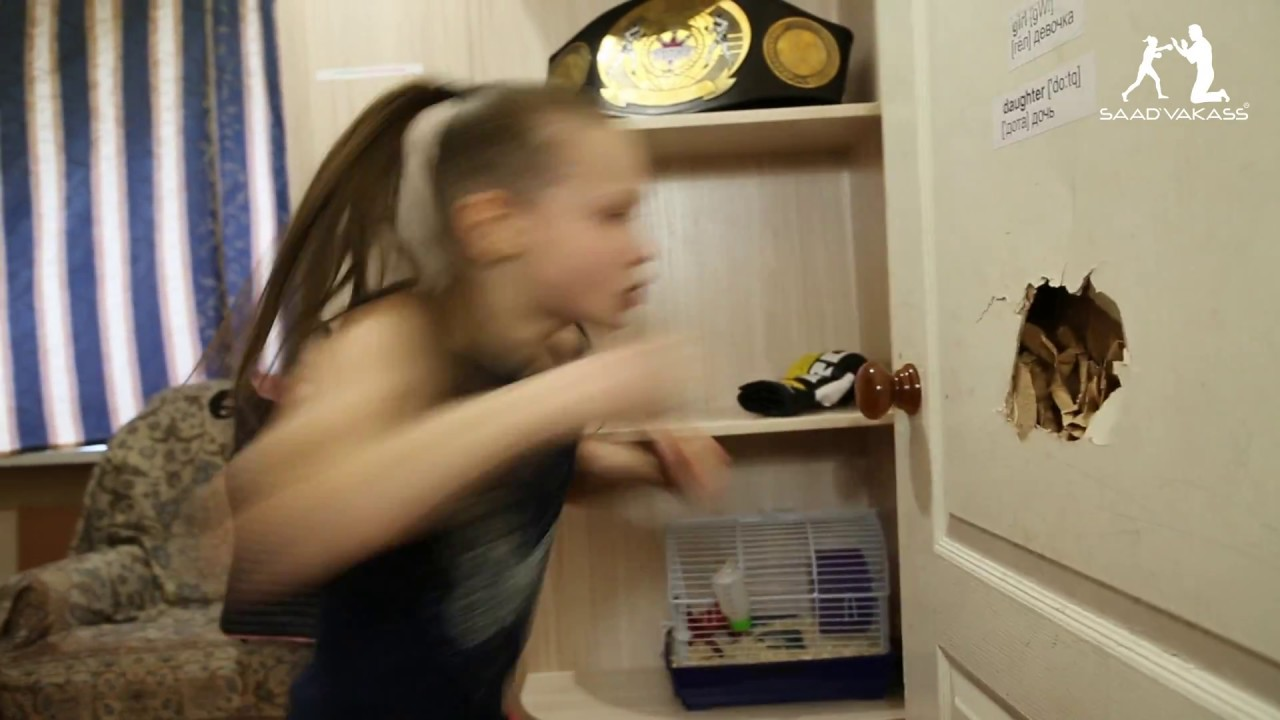 9 year old Evnika Saadvakass shatters a door with her bare fists