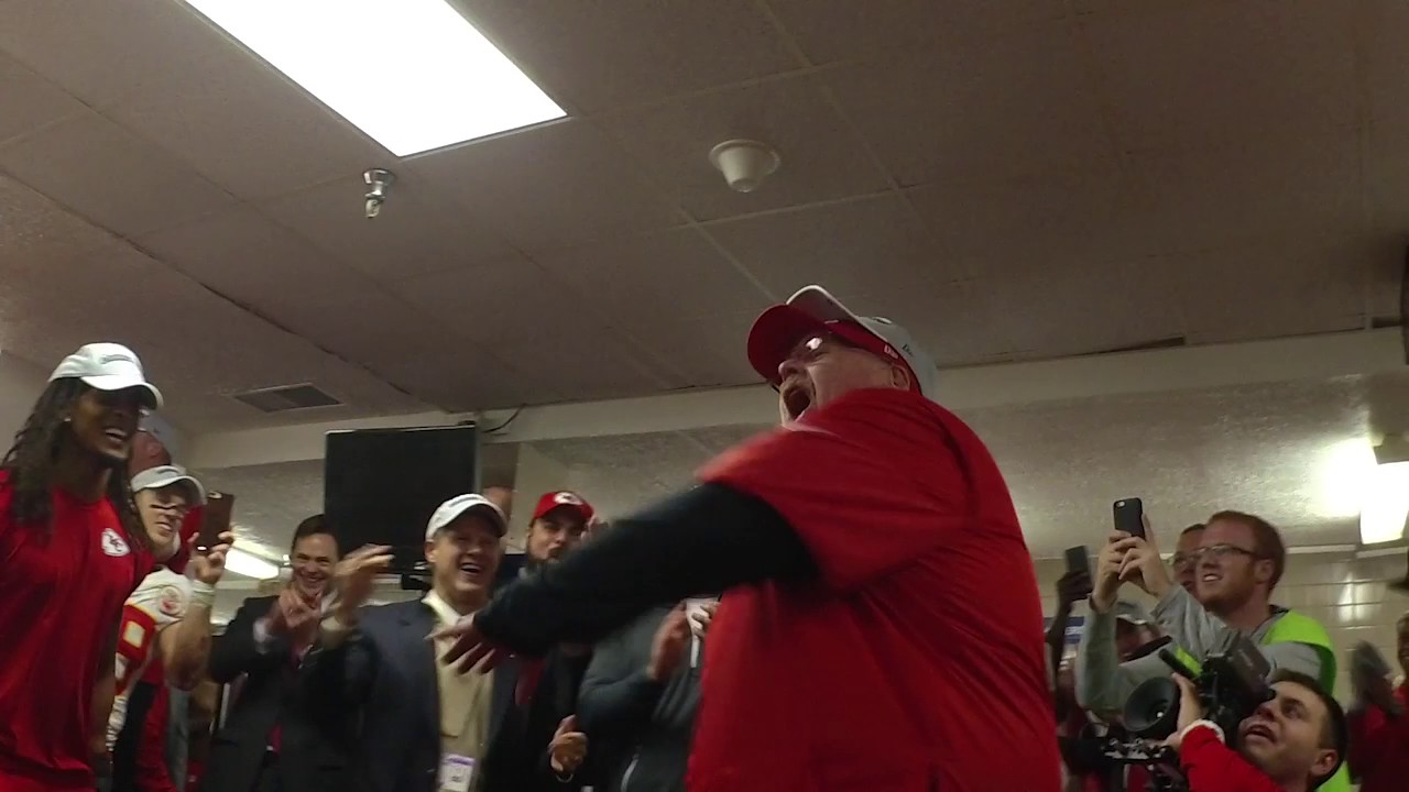 Chiefs locker room celebration after clinching 2016 AFC West title