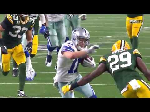 Green Bay's Kentrell Brice drives Cole Beasley into the ground head first