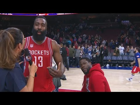 Kevin Hart video bombs James Harden's interview