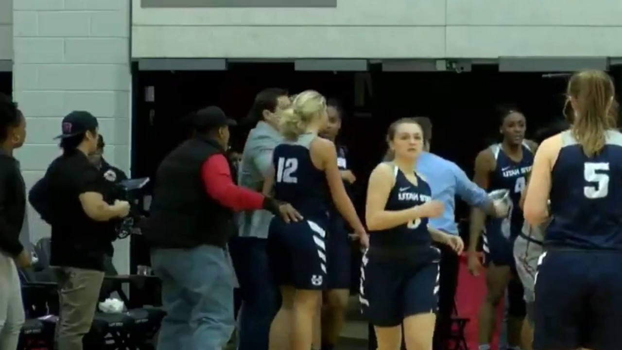 Massive brawl breaks out betwen Utah State & UNLV's women's basketball teams