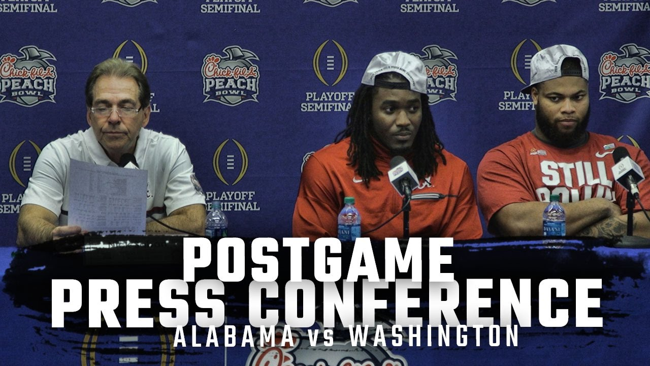 Nick Saban, Bo Scarbrough, & Ryan Anderson speak on Alabama's win over Washington