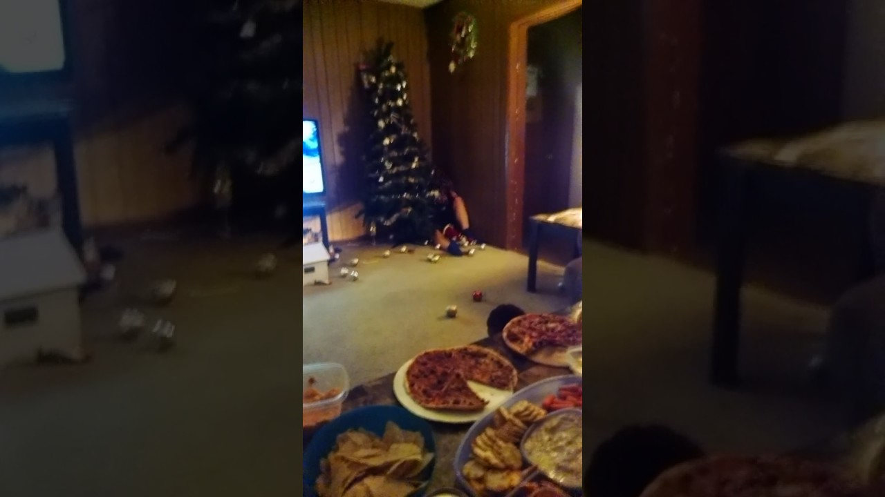 Penn State fan tackles a Christmas tree after 2017 Rose Bowl loss