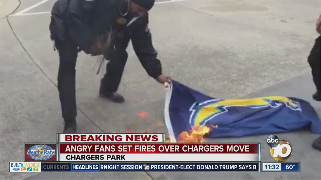San Diego Chargers fans dump Chargers merchandise at team headquarters
