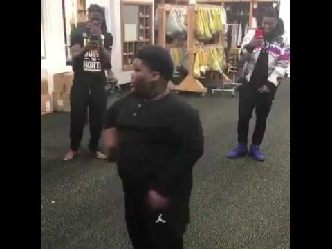 Vine star Lil Tero dances for Pittsburgh Steelers players