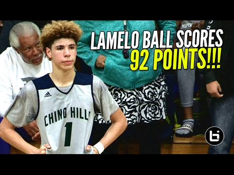 15 year old LaMelo Ball scores 92 points in High School game