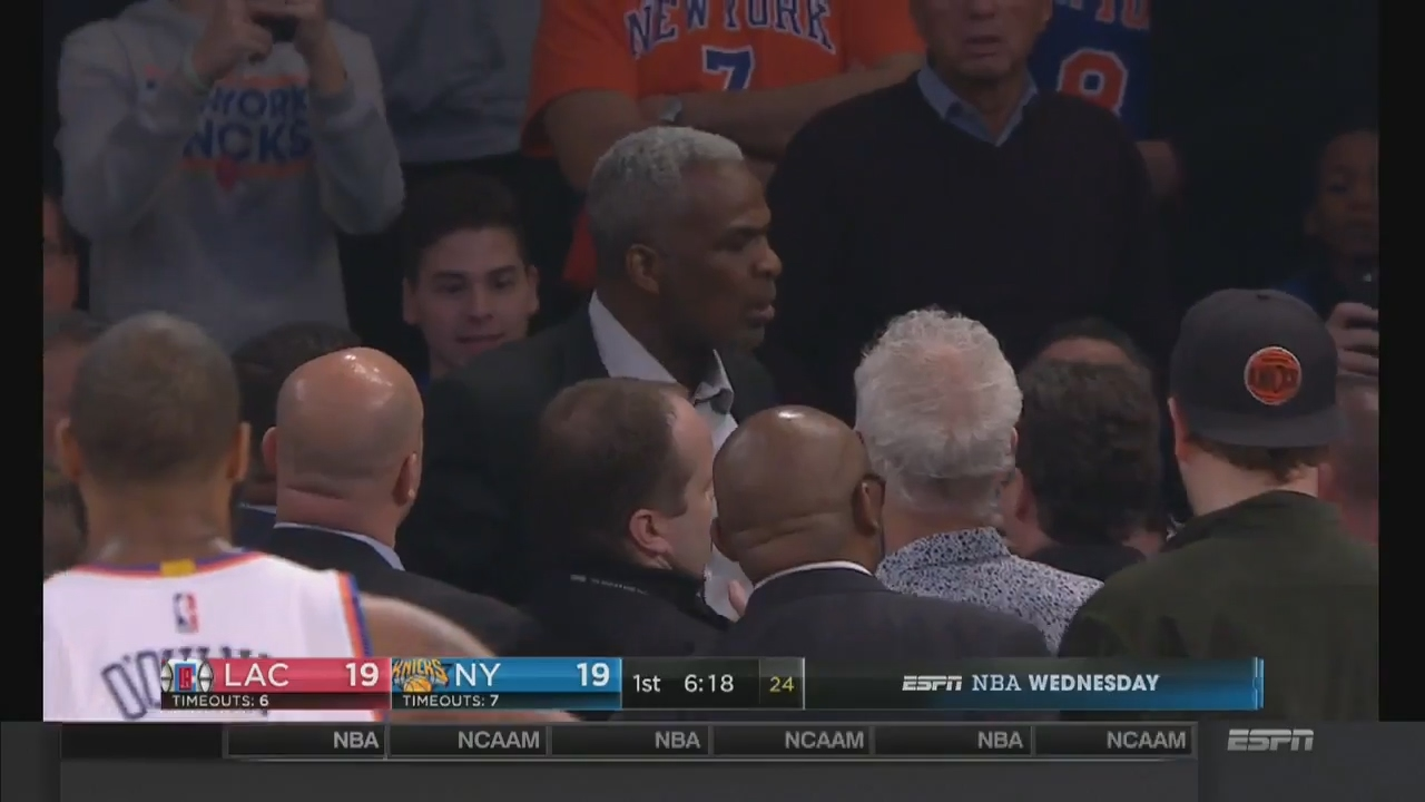Charles Oakley physically removed by security after altercation with James Dolan