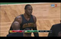 Dwight Howard pushes Al Horford causing a scrum to ensue