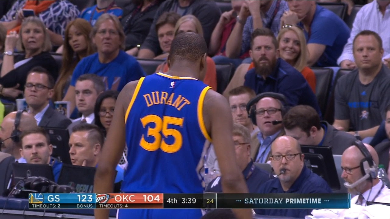Kevin Durant hits a deep 3-pointer in Russell Westbrook's face