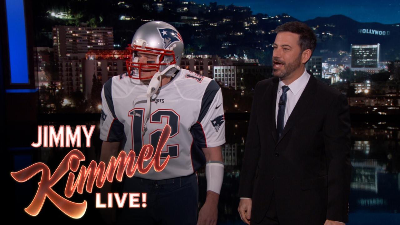 Matt Damon appears as Tom Brady on the Jimmy Kimmel show