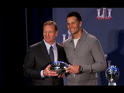 Roger Goodell hands Tom Brady his Super Bowl MVP Trophy