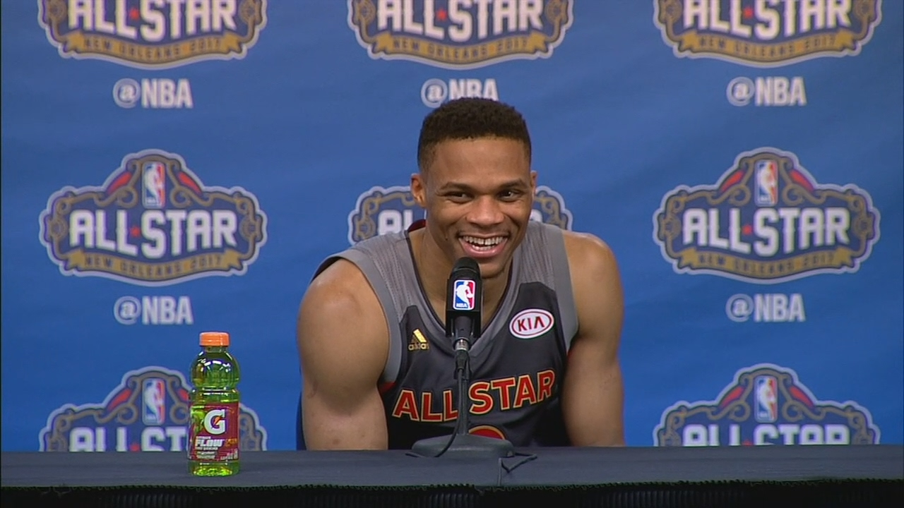Russell Westbrook shoots down a reporter asking about his alley oop with Kevin Durant