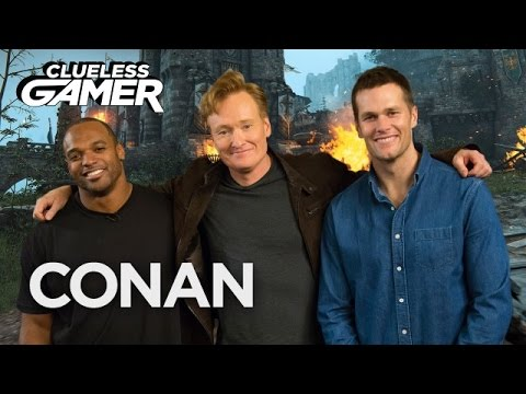 "Tom Brady & Dwight Freeney play video game ""For Honor"" with Conan"