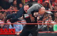 Brock Lesnar attacks Goldberg on Monday Night RAW ahead of Wrestle Mania
