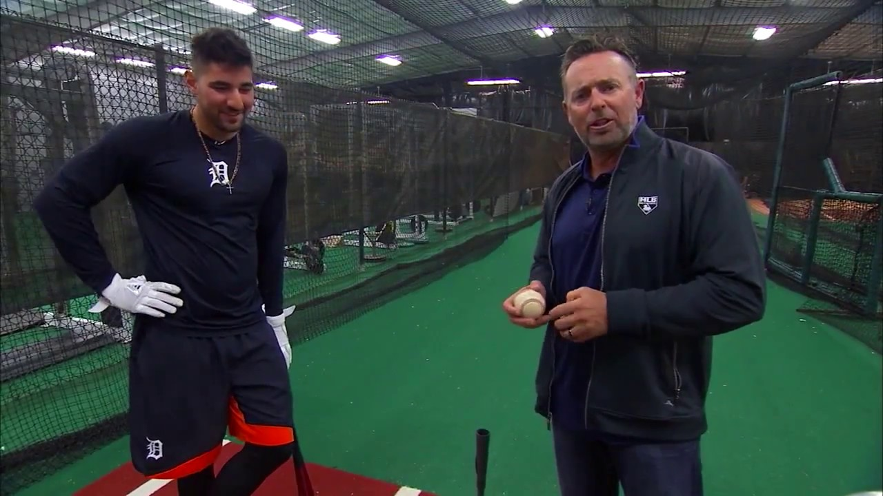 Detroit's Nick Castellanos demos his hitting off of a tee