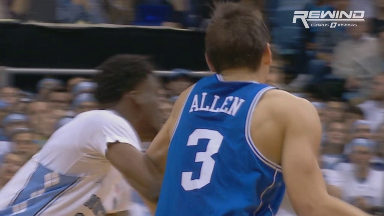 Duke's Grayson Allen throws an elbow during Duke vs. North Carolina