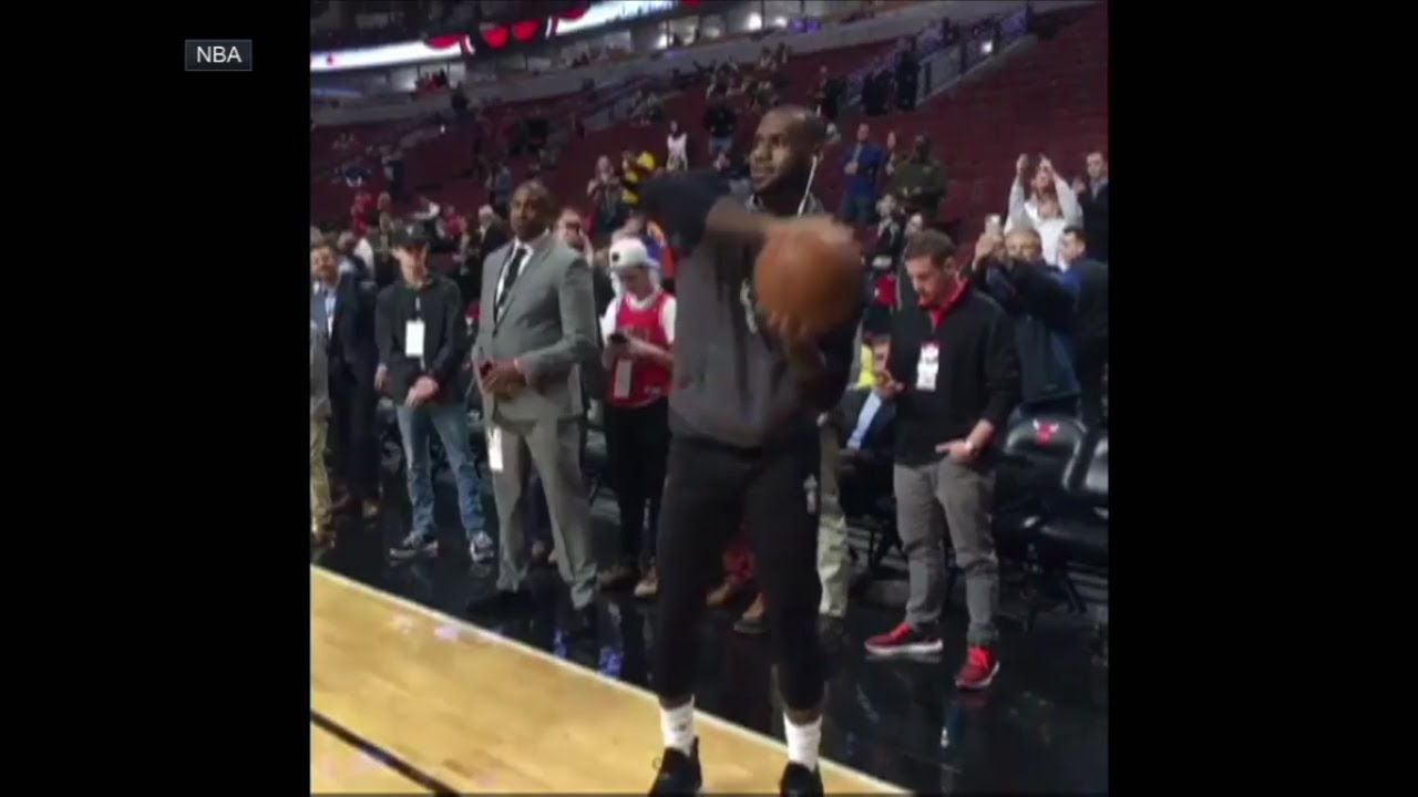 LeBron James mocks Lonzo Ball's jump shot during warm ups